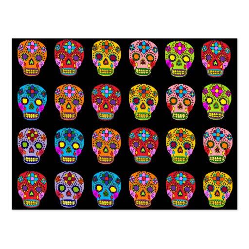 Multicolor Sugar Skulls Postcards