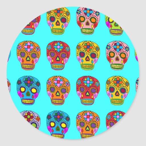 Multicolor Sugar Skulls Round Sticker