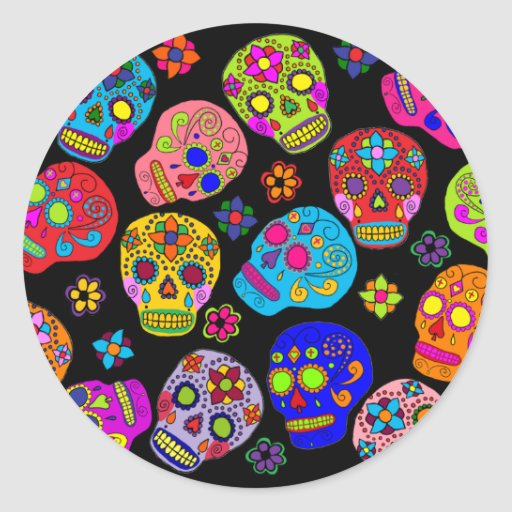 Multicolor Sugar Skulls Sticker