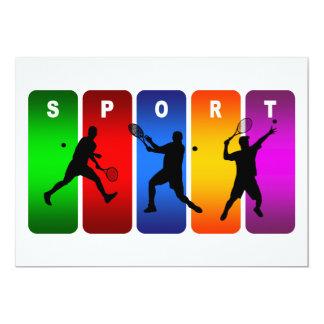 Multicolor Tennis Emblem (Male) 13 Cm X 18 Cm Invitation Card