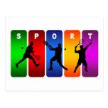 Multicolor Tennis Emblem (Male) Post Cards