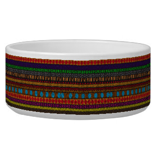 Multicolor, tribal, dog bowl - Tanzania