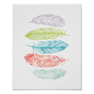 Multicolor Watercolor Feathers Tribal Print Poster