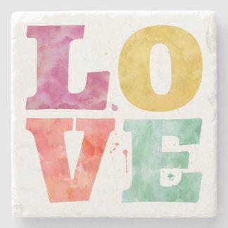 Multicolor Watercolor LOVE Coaster Stone Beverage Coaster
