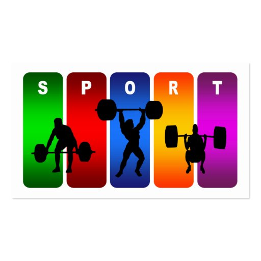 Multicolor Weight Lifting Emblem Business Card Templates