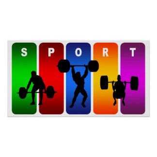 Multicolor Weight Lifting Emblem Poster
