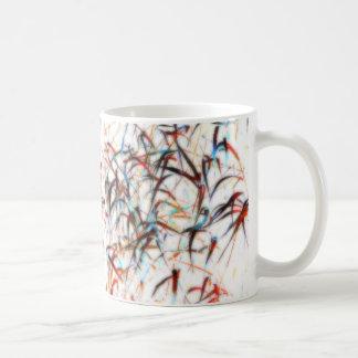 Multicolor wild grasses on white mug