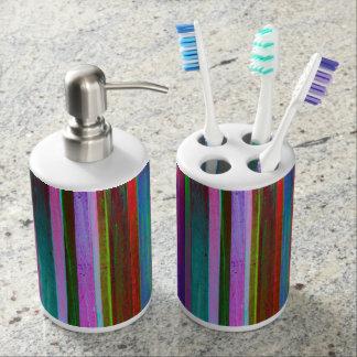 Multicolor wood board stripes bath set