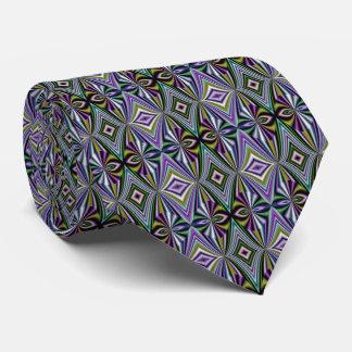 Multicolor Yellow/Green/Lavender/Blue Pattern Tie