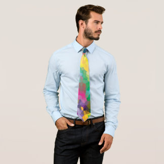 Multicolored Abstract Crystals Geometric Pattern Tie