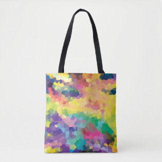 Multicolored Abstract Crystals Geometric Pattern Tote Bag