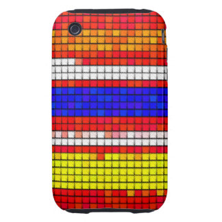 Multicolored abstract Fabric pattern Tough iPhone 3 Covers