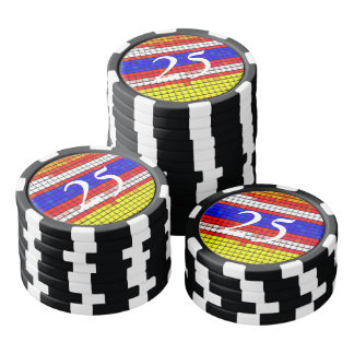 Multicolored abstract Fabric pattern Poker Chips