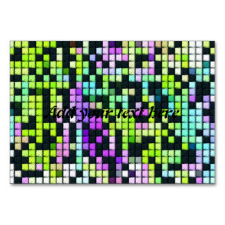 Multicolored abstract fabric square pattern card