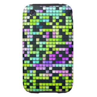 Multicolored abstract fabric square pattern iPhone 3 tough covers
