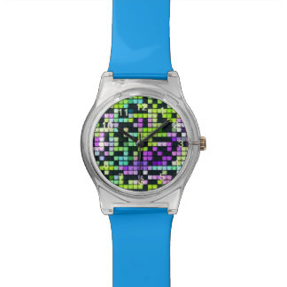 Multicolored abstract fabric square pattern watch