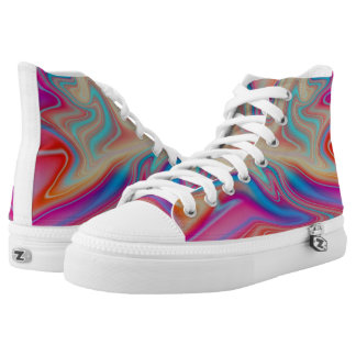 multicolored abstract liquid paint high tops