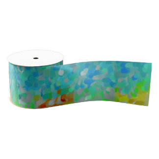 Multicolored abstract pattern grosgrain ribbon