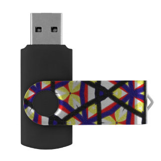 Multicolored abstract pattern swivel USB 3.0 flash drive