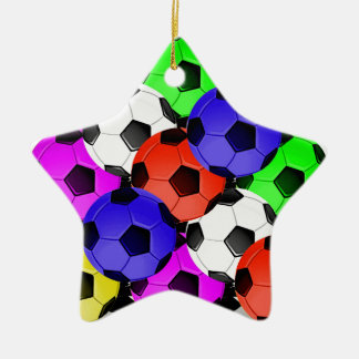 Multicolored American Soccer or Football Ceramic Star Decoration