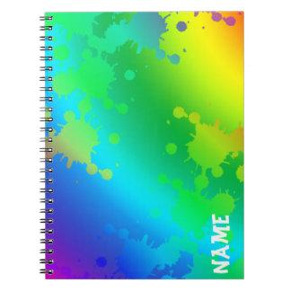 Multicolored and colorful color splash note books