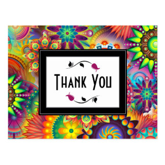 Multicolored Art Deco Flower Shapes Thank You Postcard