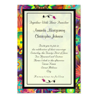Multicolored Art Deco Flowers Abstract Wedding 13 Cm X 18 Cm Invitation Card