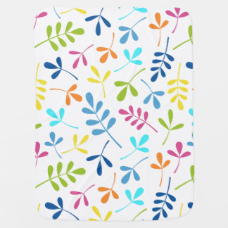Multicolored Assorted Leaves Pattern Baby Blanket