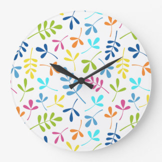 Multicolored Assorted Leaves Pattern Large Clock