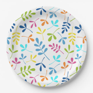 Multicolored Assorted Leaves Pattern Paper Plate