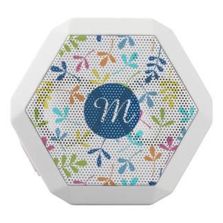 Multicolored Assorted Leaves Ptn (Personalised) White Bluetooth Speaker