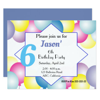 Multicolored balloon Birthday party Invitation