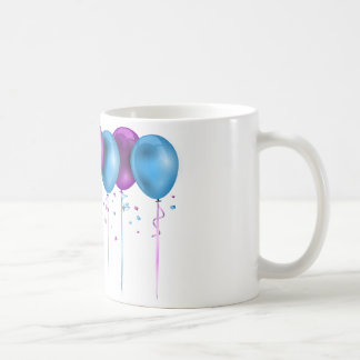 Multicolored balloon cup basic white mug