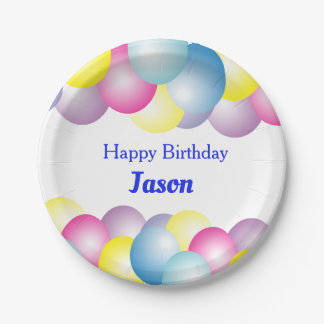 Multicolored balloons paper plate