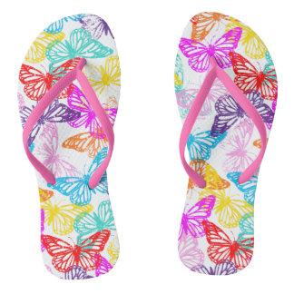 Multicolored Butterflies Pattern Flip Flops