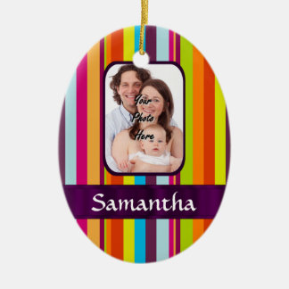 Multicolored candy stripe christmas ornament