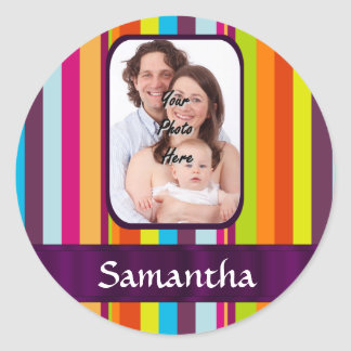 Multicolored candy stripe classic round sticker