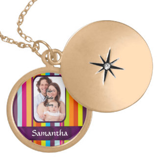 Multicolored candy stripe gold plated necklace