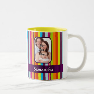 Multicolored candy stripe Two-Tone coffee mug