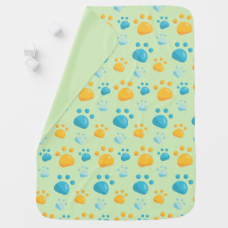Multicolored Cat Paw Prints Pattern Baby Blanket