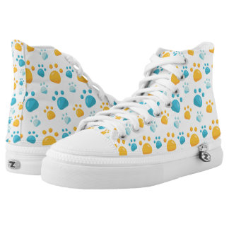 Multicolored Cat Paw Prints Pattern High Tops