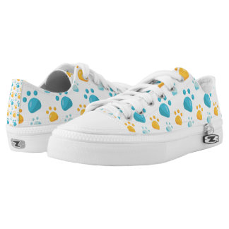 Multicolored Cat Paw Prints Pattern Low Tops