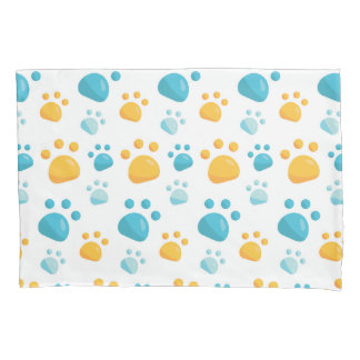 Multicolored Cat Paw Prints Pattern Pillowcase