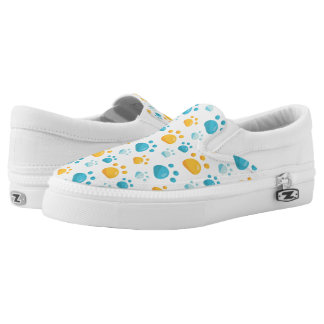 Multicolored Cat Paw Prints Pattern Slip-On Shoes