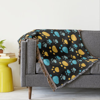 Multicolored Cat Paw Prints Pattern Throw Blanket
