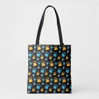 Multicolored Cat Paw Prints Pattern Tote Bag