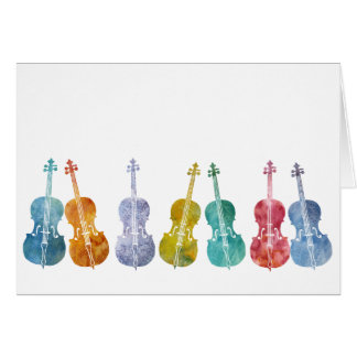Multicolored Cellos Card