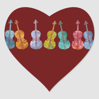 Multicolored Cellos Heart Sticker
