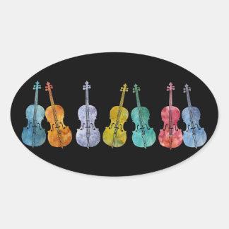Multicolored Cellos Oval Sticker