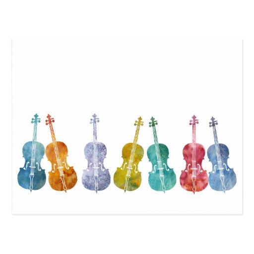 Multicolored Cellos Postcard